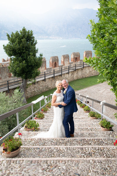 Caroline & Gus on Malcesine Castle steps