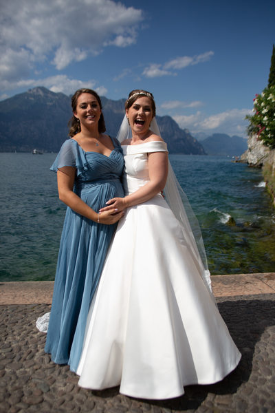 Roxanne and her bridesmaid in Malcesine