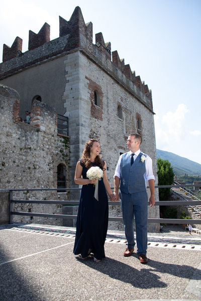 A stroll in Malcesine Castle as the new mr & mrs