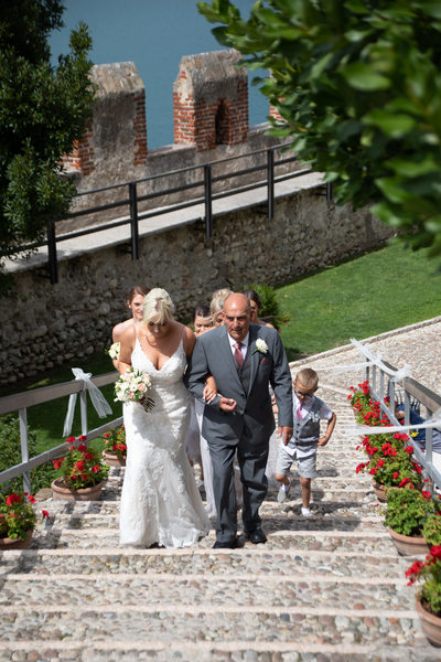 Bride and Grandad in Malcesine Castle.
