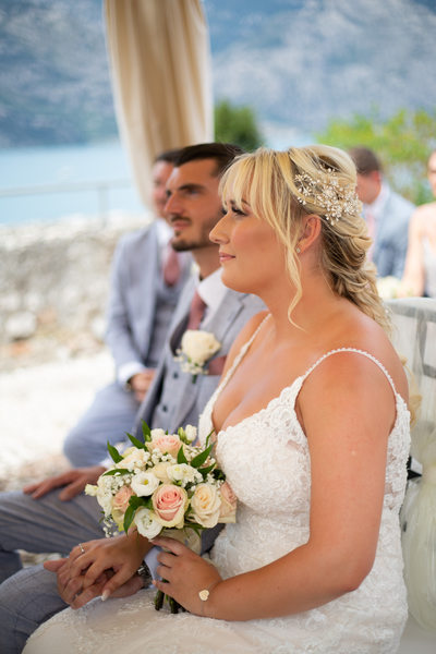 Gorgeous couple in Malcesine Castle.