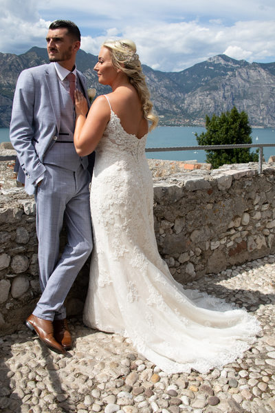 Gemma and Mark, Malcesine Castle Terrace, Italy