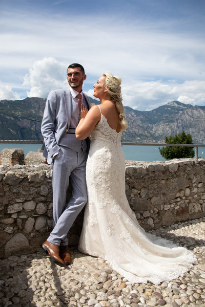Gemma and Mark, Malcesine Castle Wedding Terrace, Italy