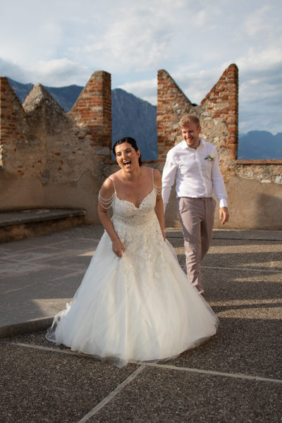 Fantastic light 5pm wedding Malcesine Castle