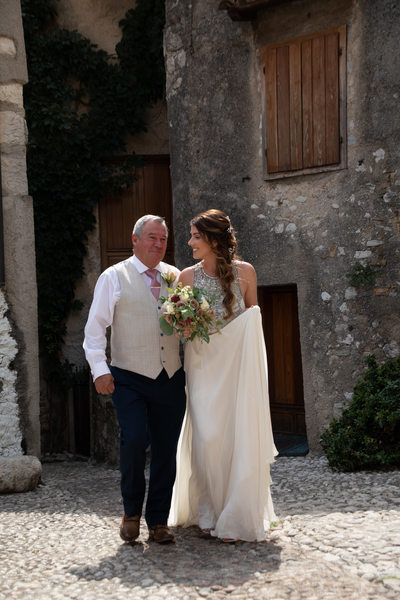 Gorgeous Gemma on the way to the wedding in Italy