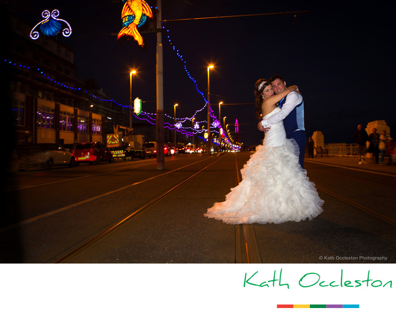Wedding photograph with Blackpool Illuminations