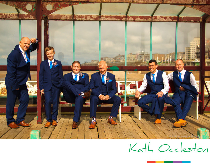Groom and groomsmen on North Pier Blackpool