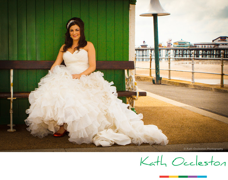 Bride on Blackpool promenade
