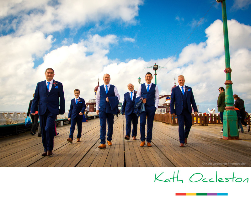 Groom and ushers on the pier, Blackpool