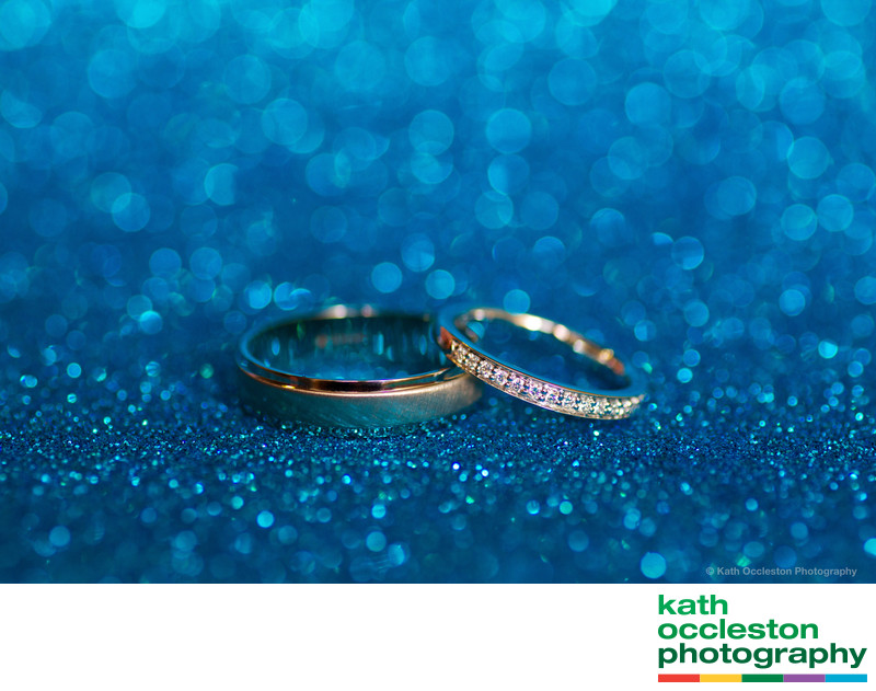 creative sparkly wedding ring photography