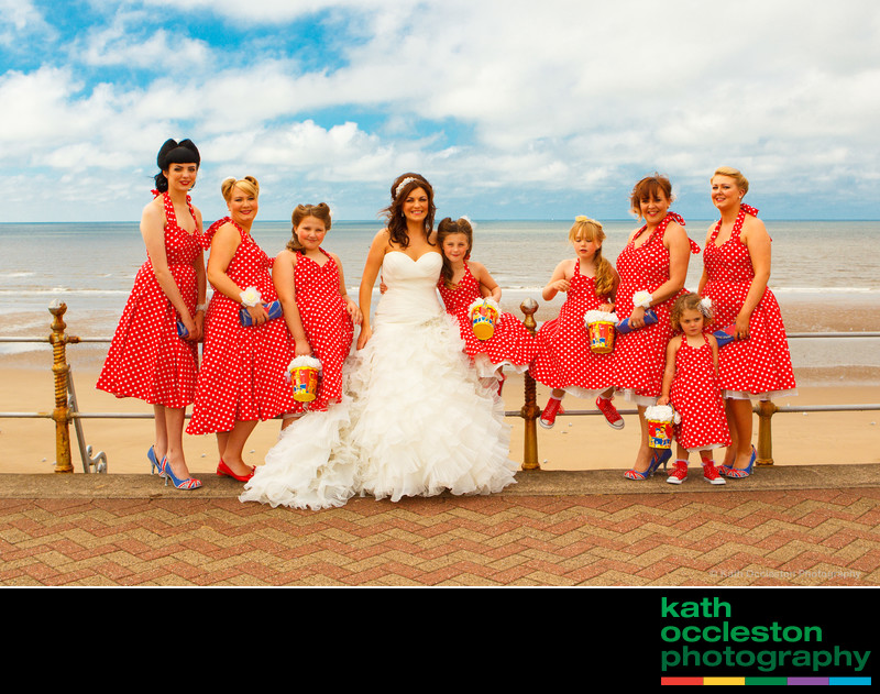 Bridal party in fifties style dresses on Blackpool prom