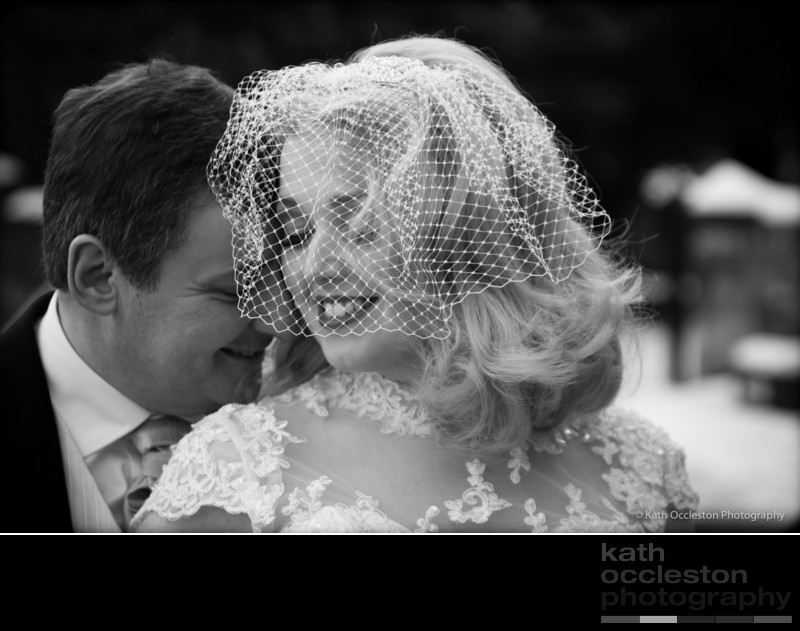 Romantic black & white wedding portrait