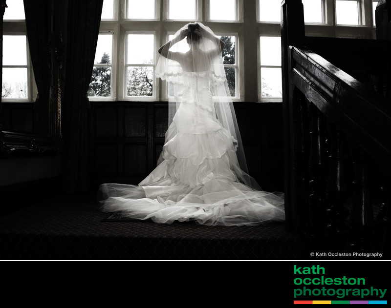 Bride in window of Goldsborough Hall