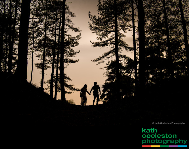 Silhouette of Bride & Groom in Forest