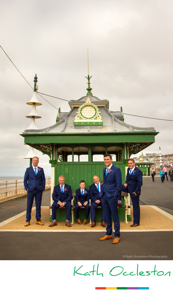 Groomsmen on Blackpool promenade