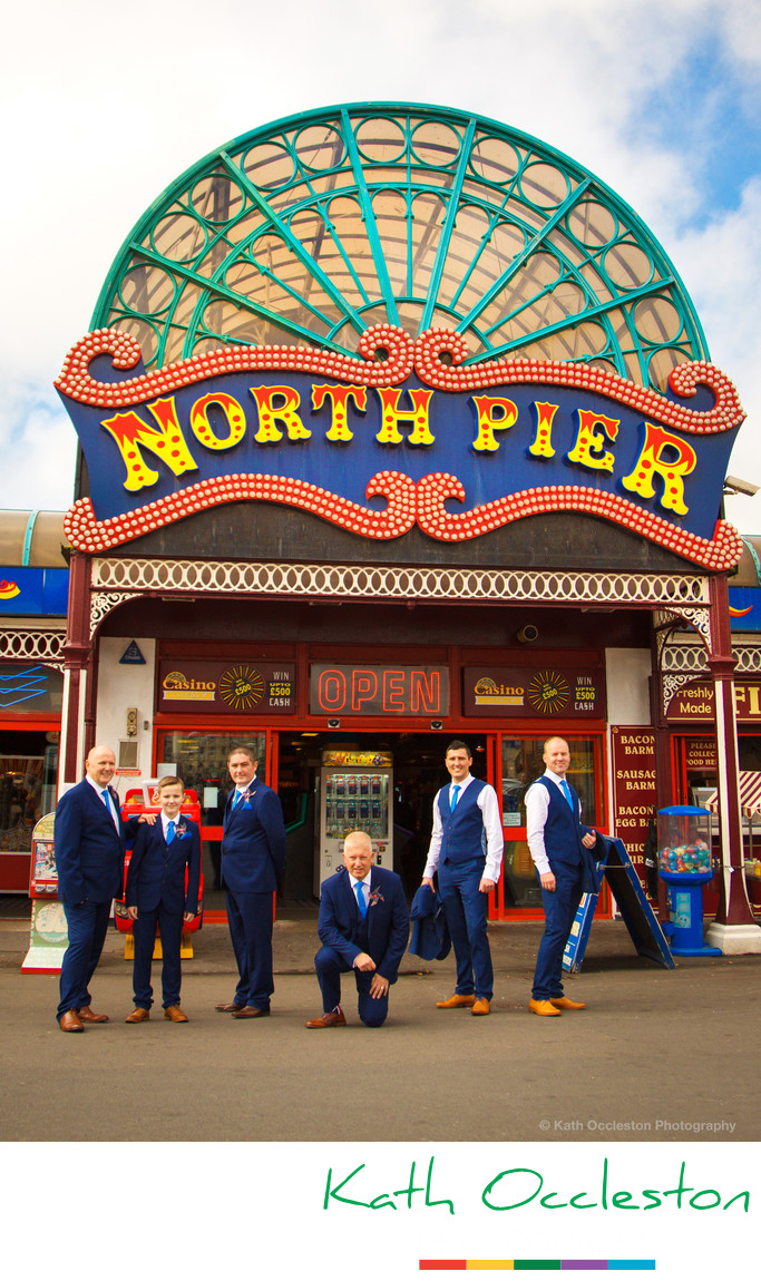 Groomsmen in front of North Pier Blackpool