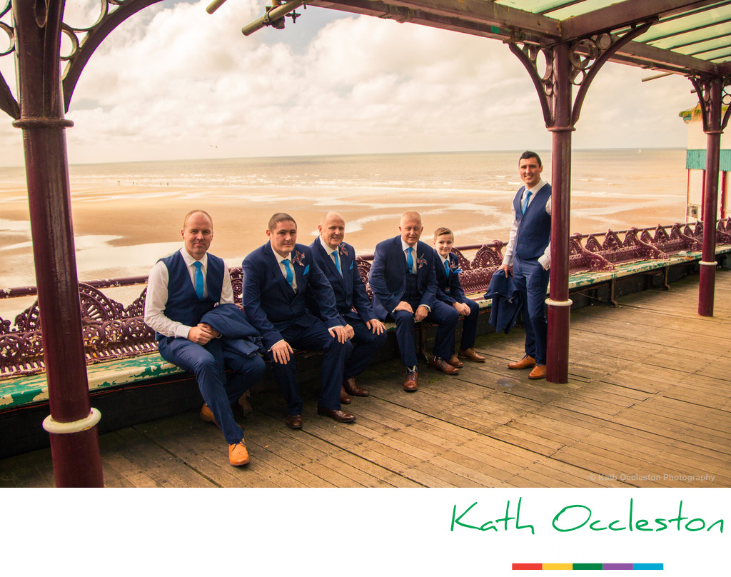 Groom and ushers on north pier, Blackpool