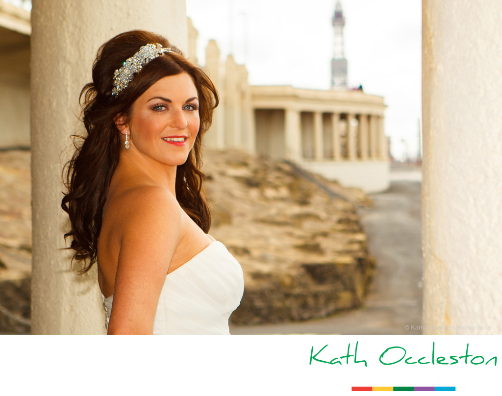 Bridal portrait on Blackpool promenade