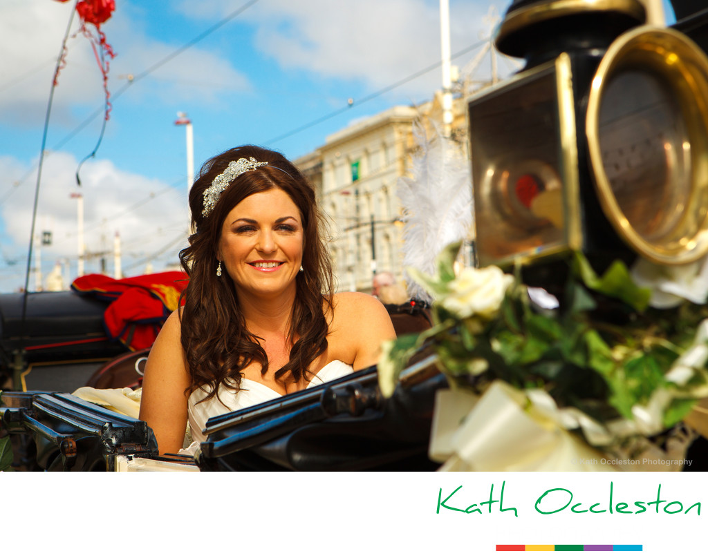Bride in the carriage at The Wedding Chapel, Blackpool