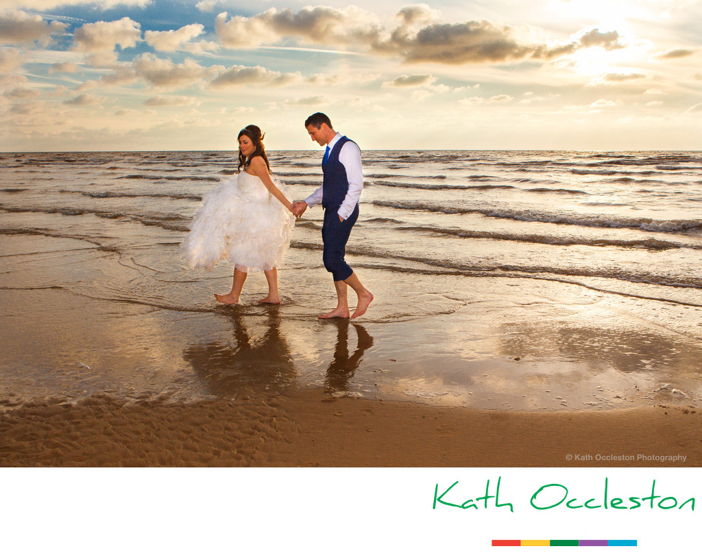 Bride & Groom in Sea at Blackpool
