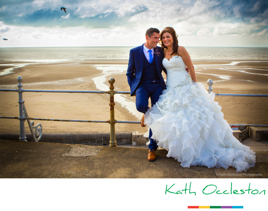Bride & Groom on Blackpool prom