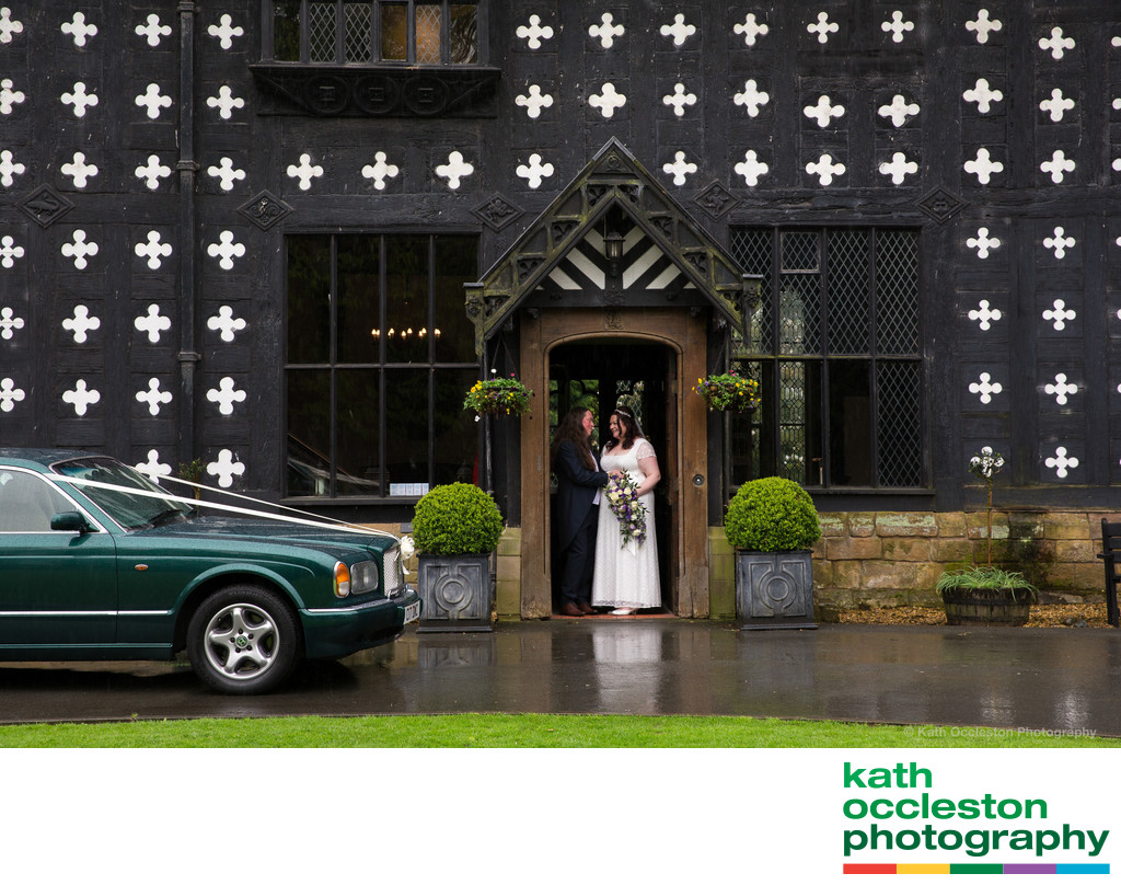 Rainy wedding at Samlesbury Hall