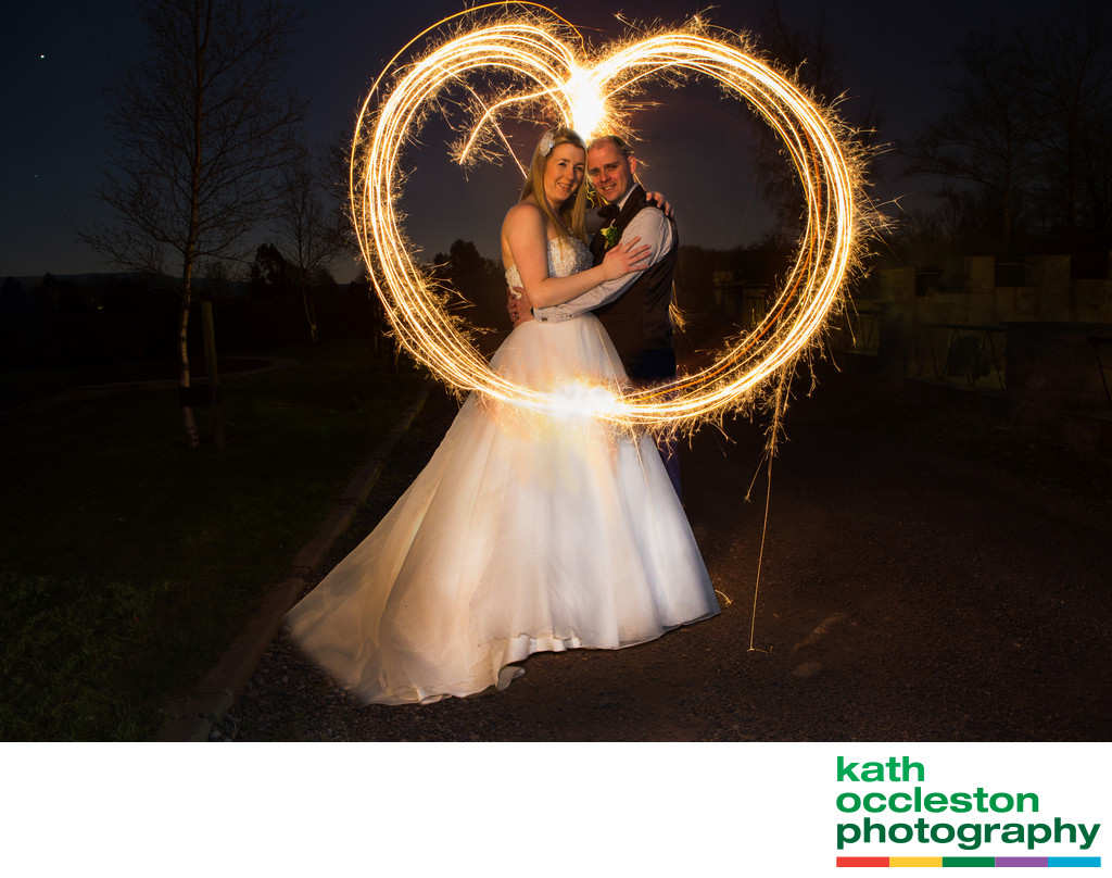 Sparkler heart wedding photo