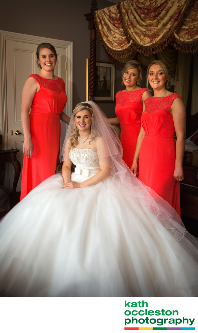 Portrait of Bridal party at Farington Lodge