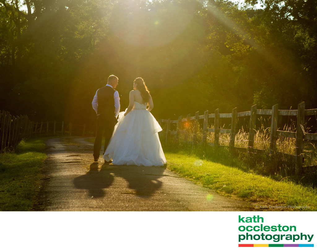 Sunset photography with bride & groom at The Villa, Wrea Green