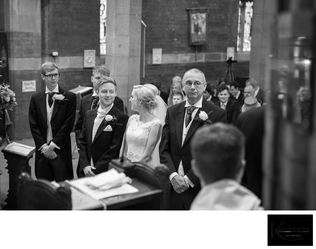 Bride & Groom at the altar in St Annes Parish Church