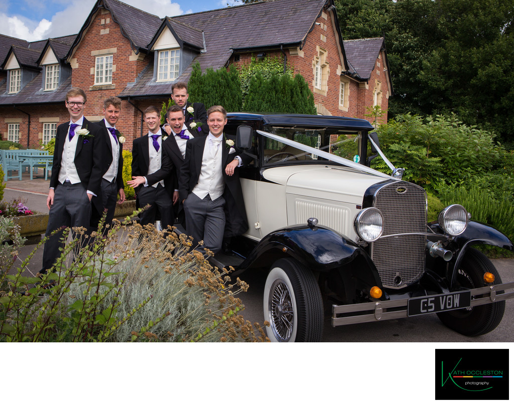 Groomsmen & the wedding car at The Villa, Wrea Green