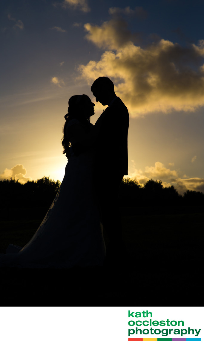 Sunset Silhouette of Bride & Groom