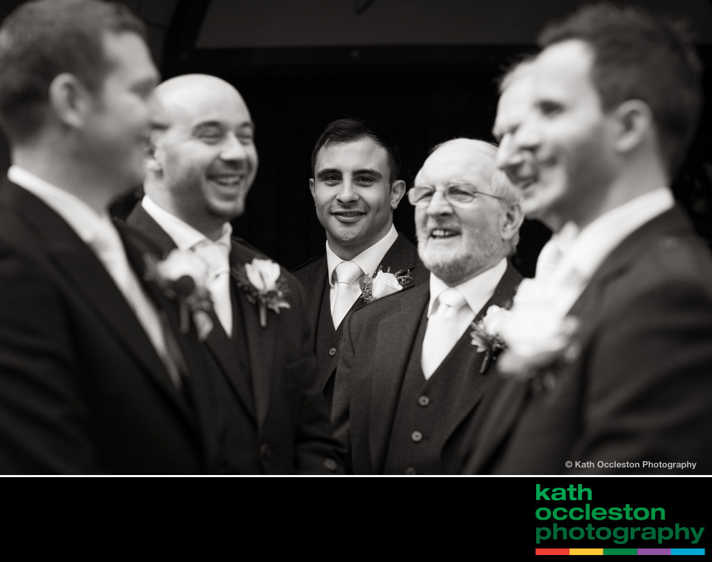 The Groom and groomsmen at Mitton Hall