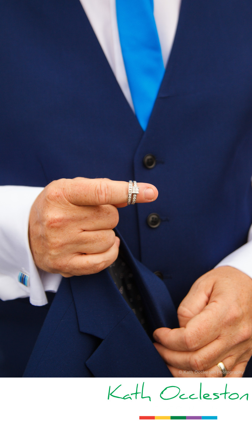 Groom with wedding rings on finger