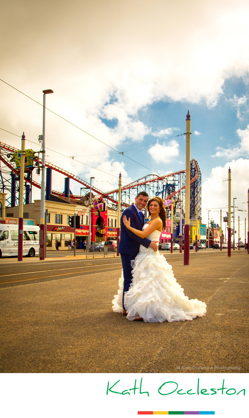 Bride & Groom at The Pleasure Beach