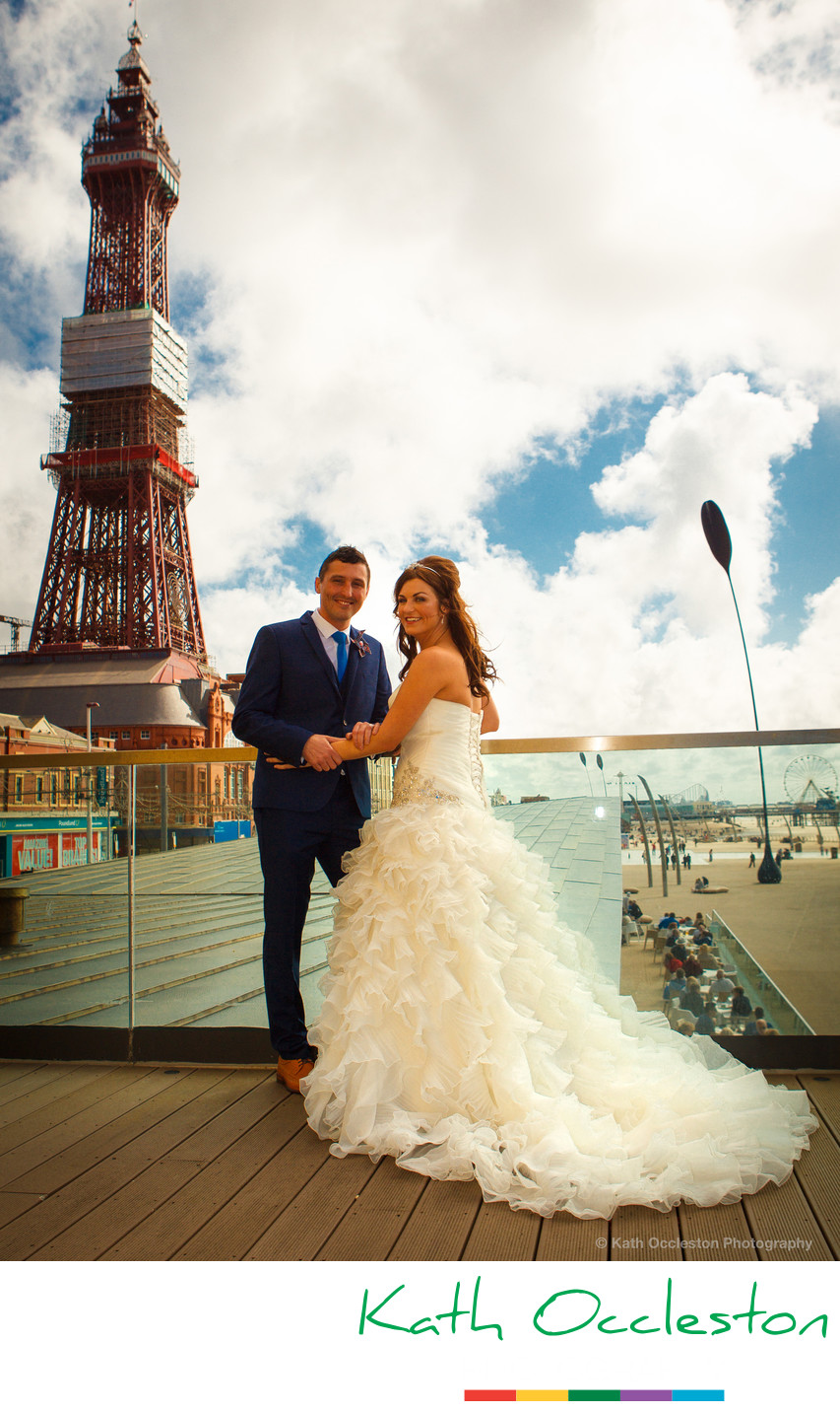 Bride & Groom on the balcony of the Wedding Chapel, Blackpool