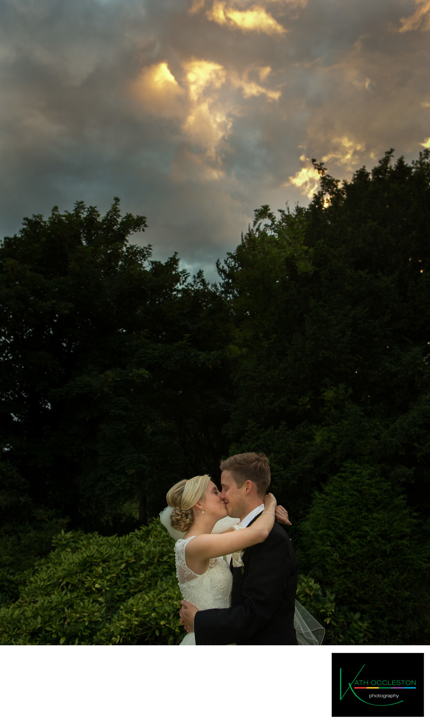 Couple at sunset at The Villa Wrea Green
