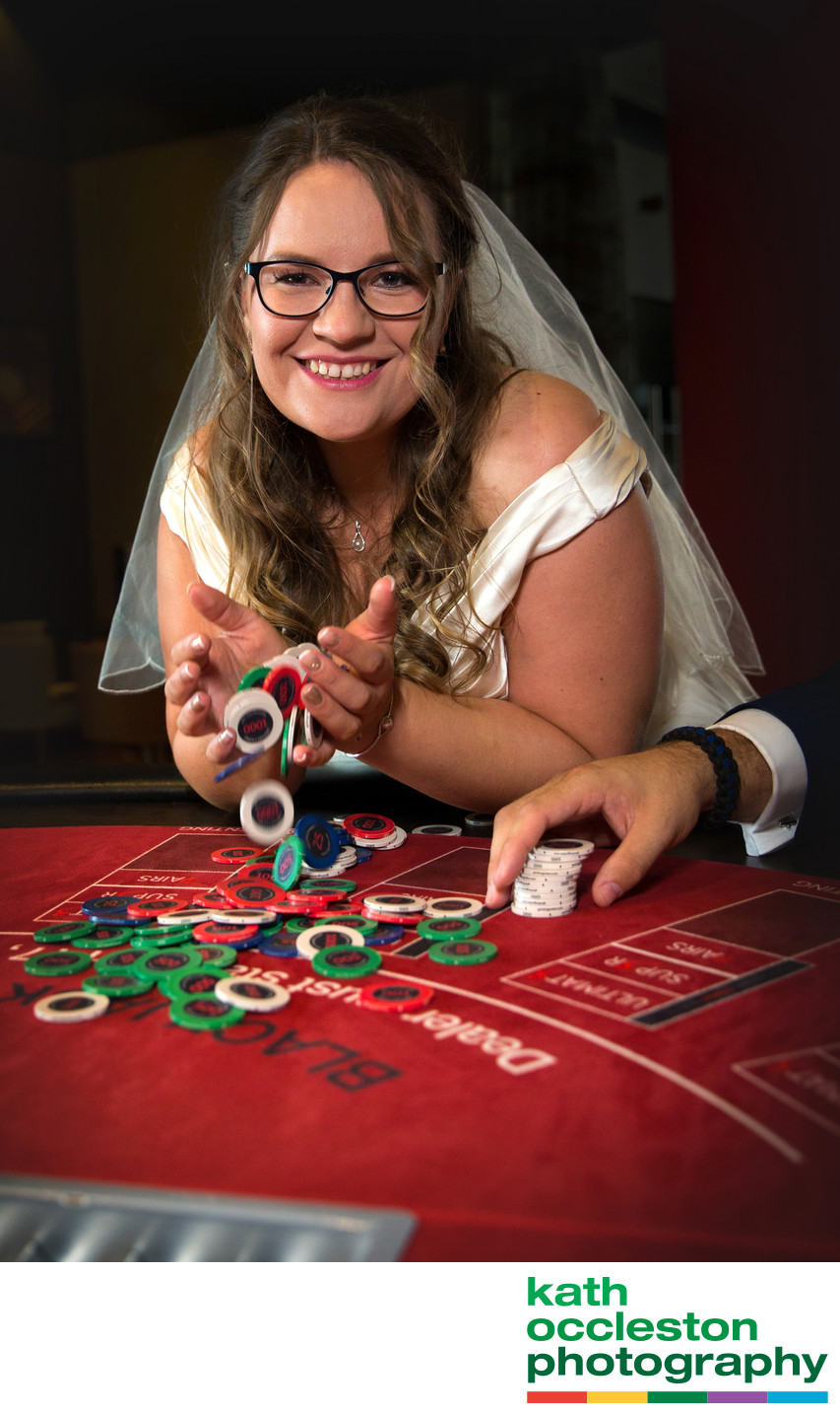 Bride in the casino winning!