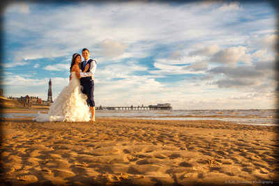 Wedding photography on Blackpool Beach