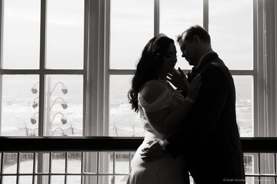 Silhouette of bride & groom in Blackpool Tower