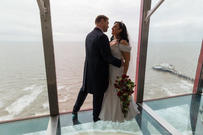 Wedding photography in Blackpool Tower Eye, Blackpool