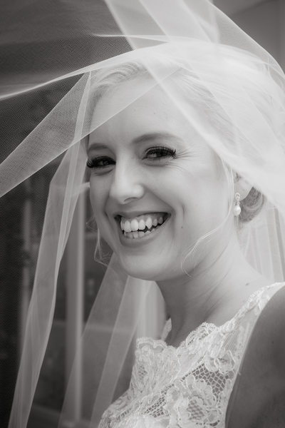 Happy bride under the veil!