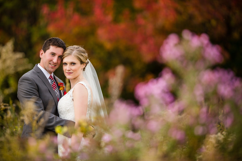 Oshkosh Wedding Photography in October Pink Flowers