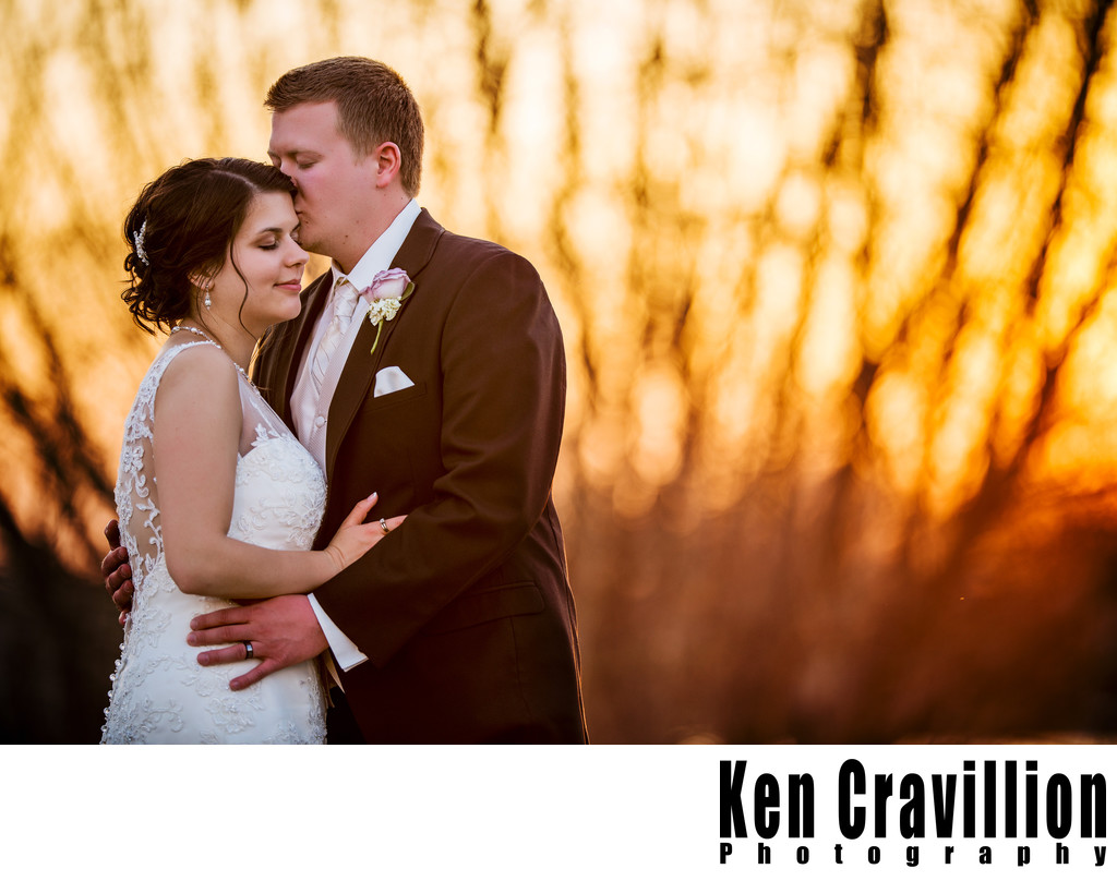 Firey Sunset Wedding Portrait Photo Oshkosh