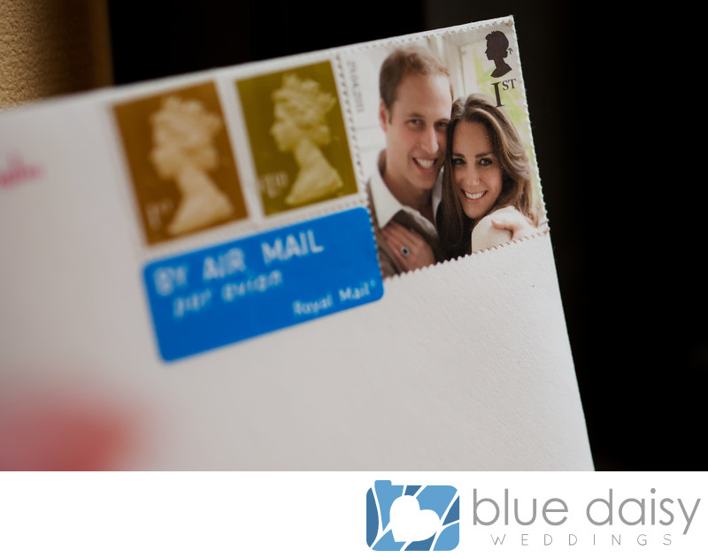 Wedding invitation with Royal British stamps