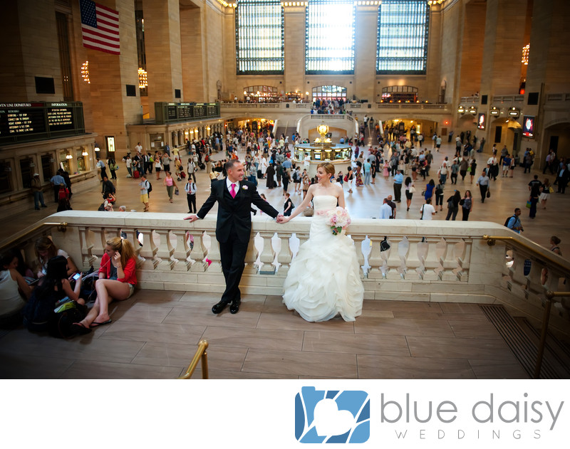 Bride and groom standing in Grand Central Terminal NYC