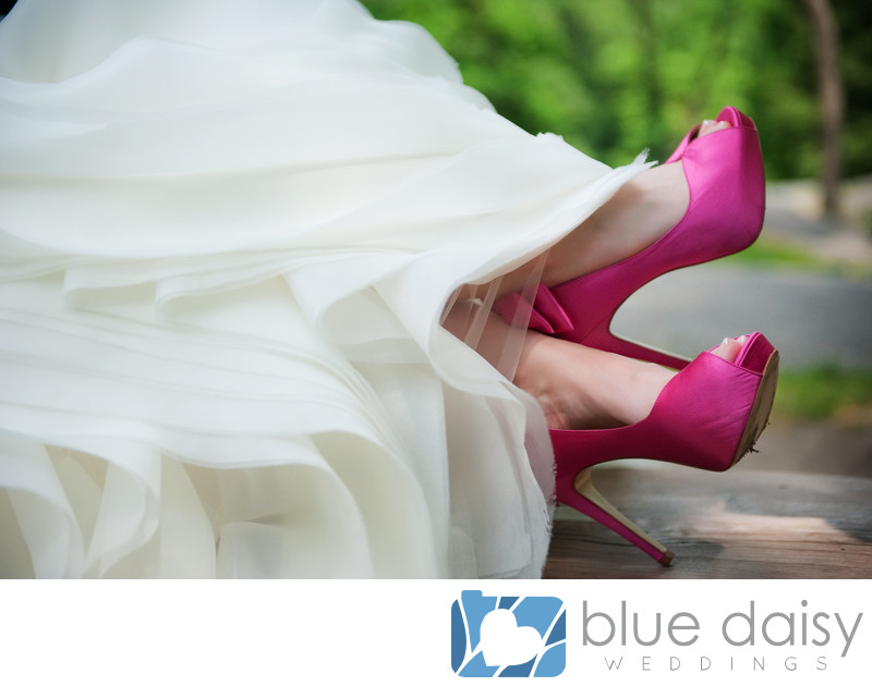 Hot pink fuchsia wedding bridal shoes with bows