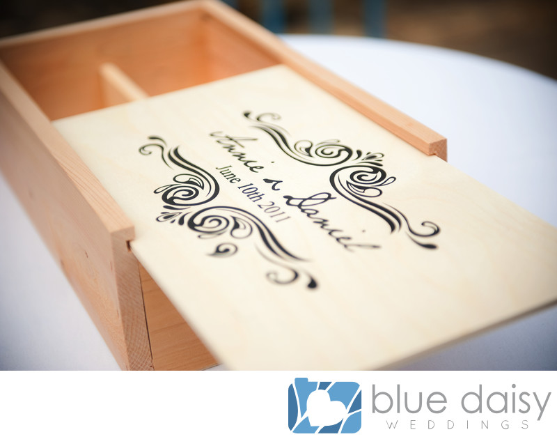 Wedding wine box personalized with date and names