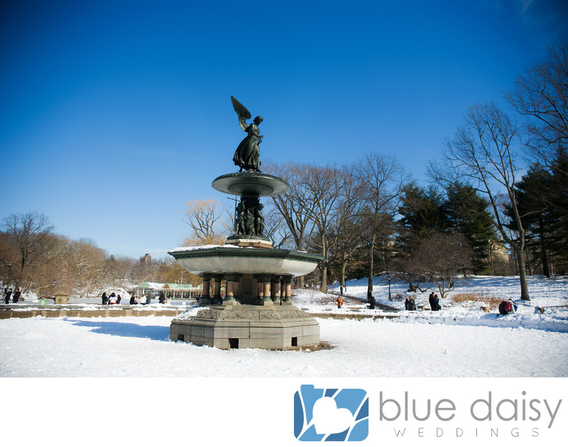 Bethesda Fountain Central Park winter marriage proposal