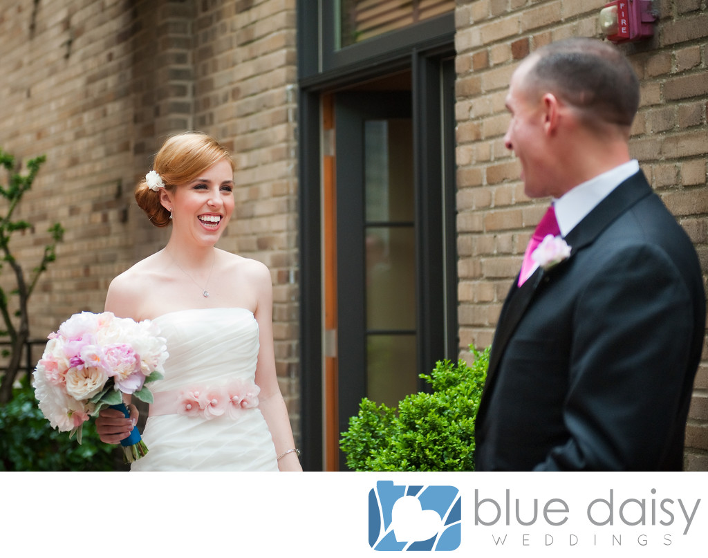 Bride and Groom first look on wedding day